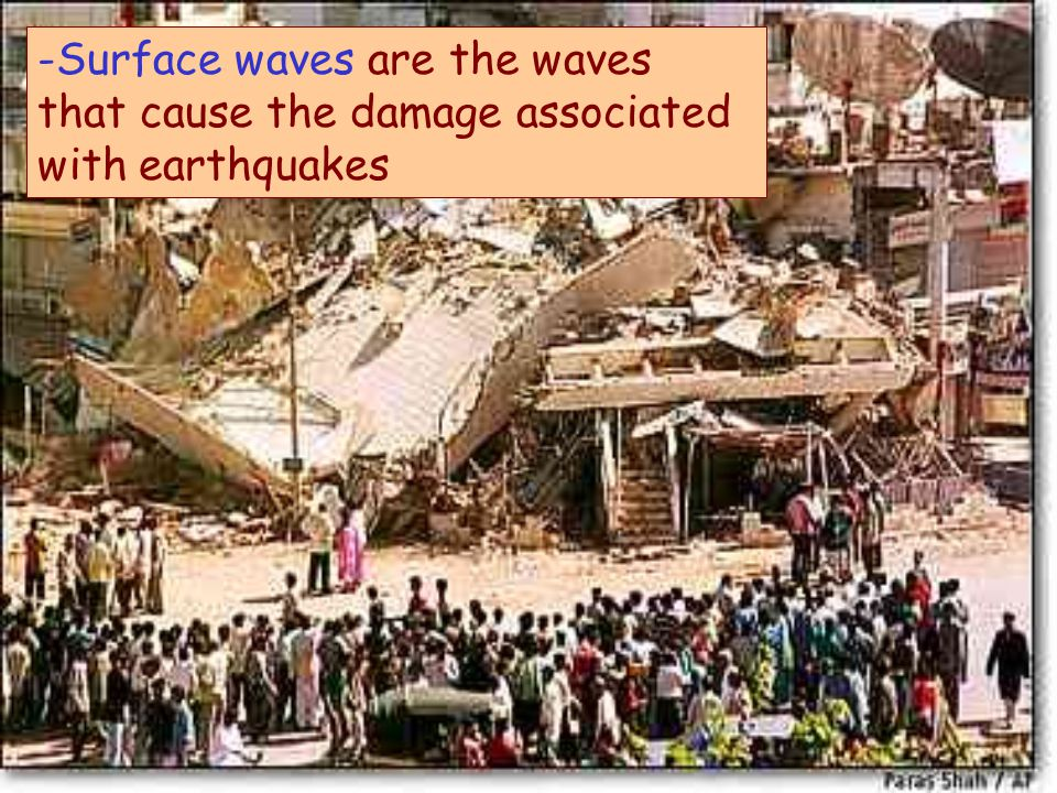 -Surface waves are the waves that cause the damage associated with earthquakes