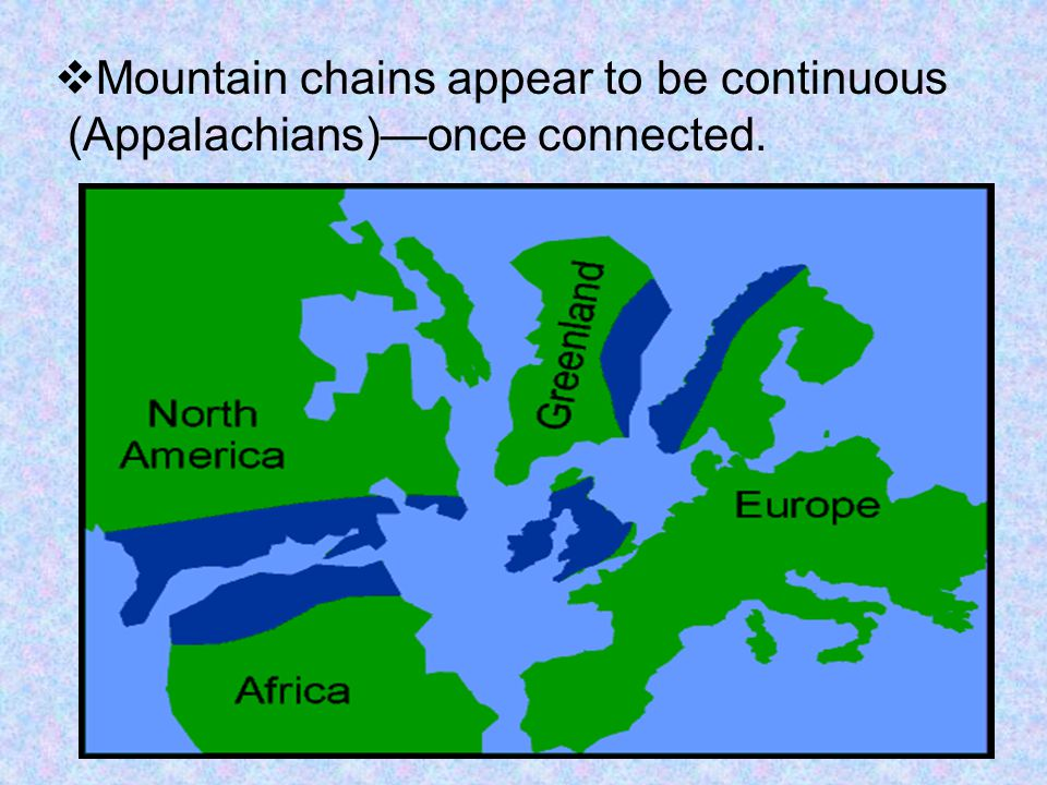  Mountain chains appear to be continuous (Appalachians)—once connected.