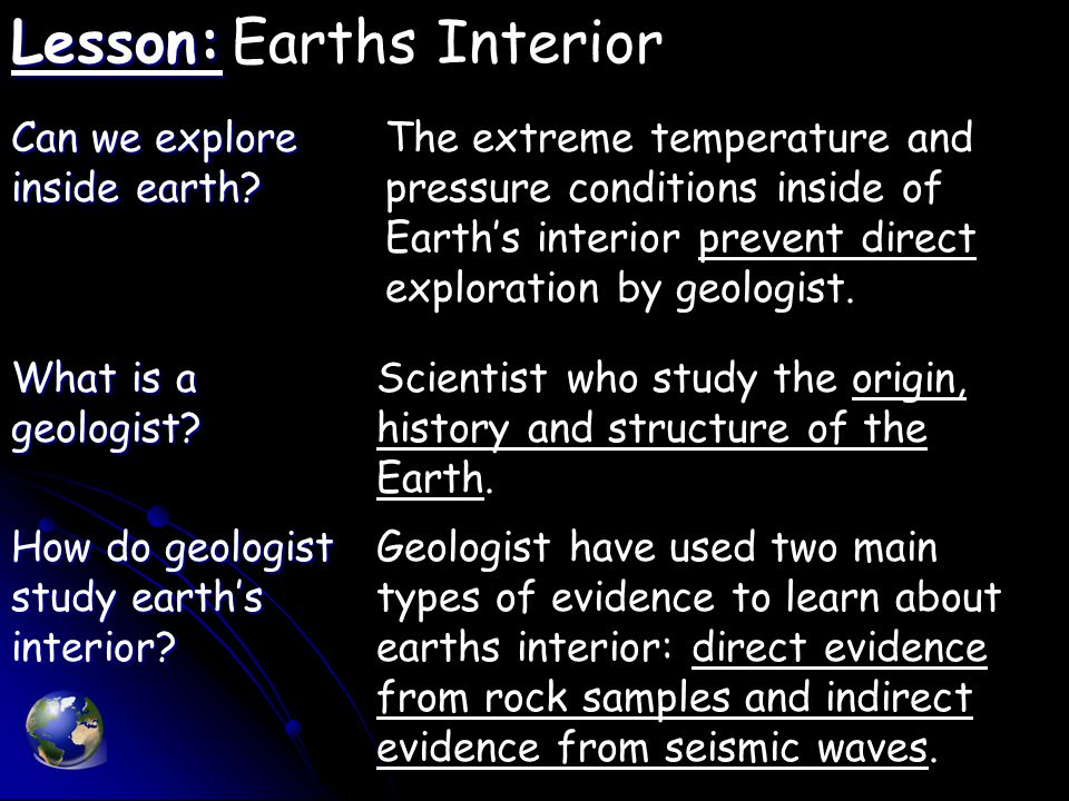 Lesson: Lesson:Earths Interior Can we explore inside earth.