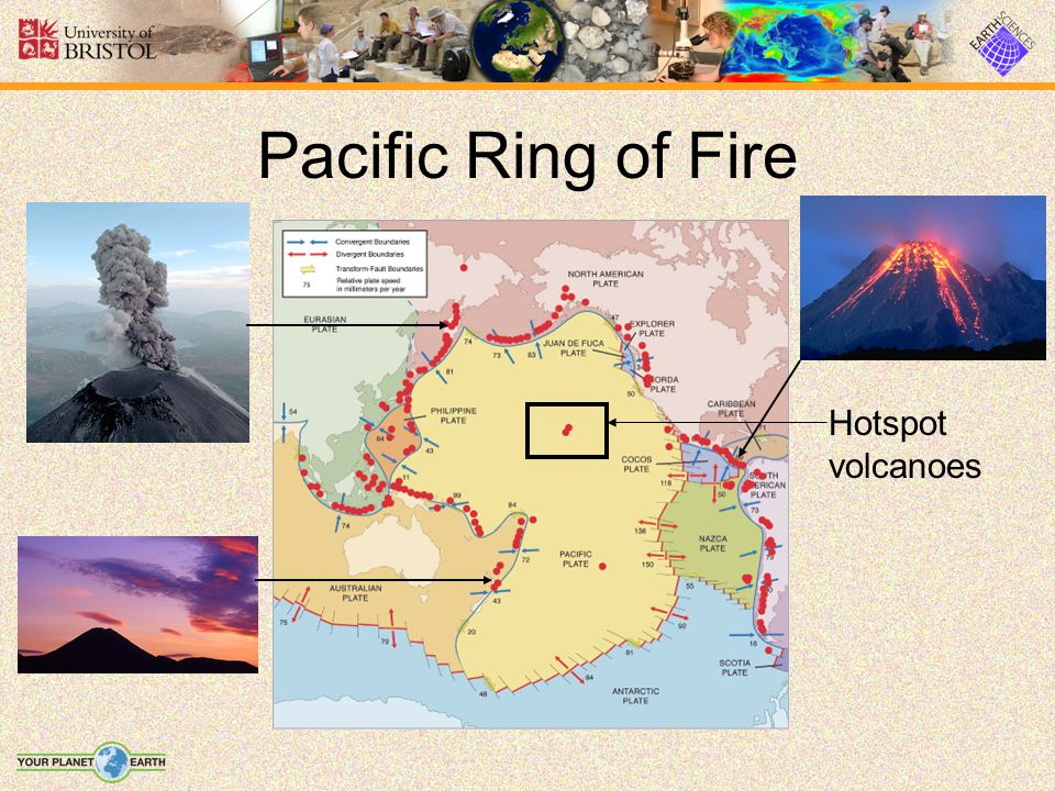 Pacific Ring of Fire Hotspot volcanoes