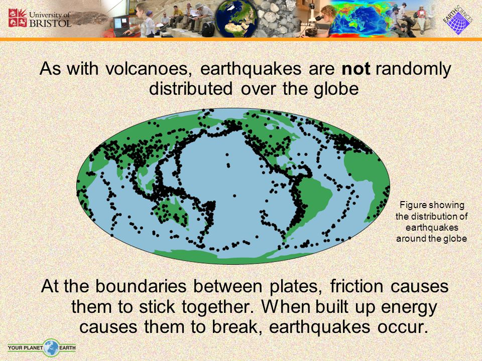 As with volcanoes, earthquakes are not randomly distributed over the globe At the boundaries between plates, friction causes them to stick together.