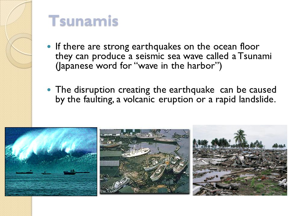 Tsunamis If there are strong earthquakes on the ocean floor they can produce a seismic sea wave called a Tsunami (Japanese word for wave in the harbor ) The disruption creating the earthquake can be caused by the faulting, a volcanic eruption or a rapid landslide.