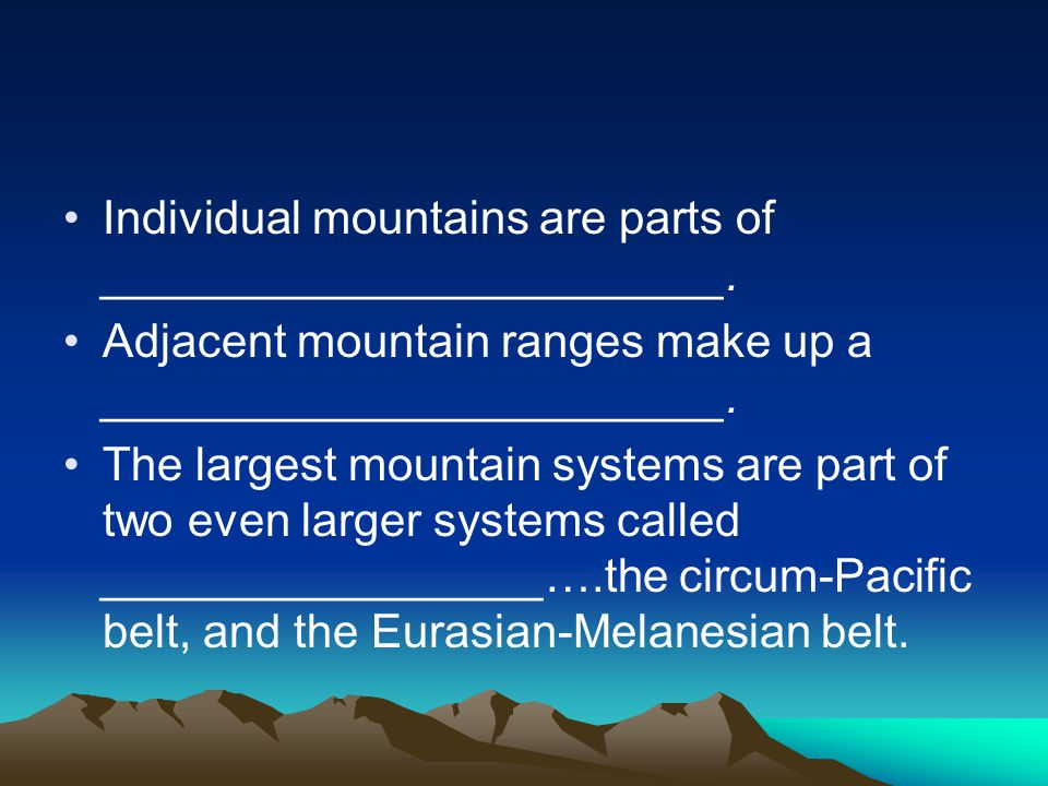 Plate Tectonics and Mountains Both mountain belts are along __________________ plate boundaries…believed to be responsible for most mountain formation.