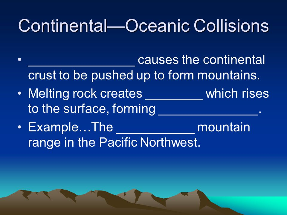 Oceanic—Oceanic Collisions Subduction causes melting of rock.