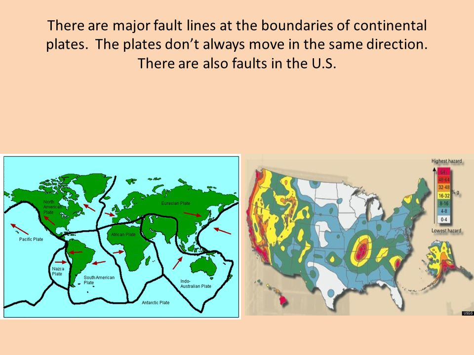 There are major fault lines at the boundaries of continental plates.