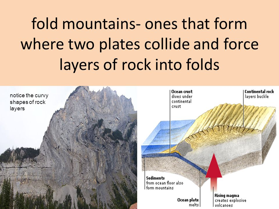 fold mountains- ones that form where two plates collide and force layers of rock into folds notice the curvy shapes of rock layers