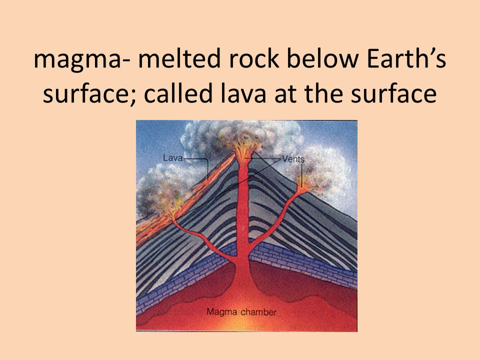 magma- melted rock below Earth's surface; called lava at the surface