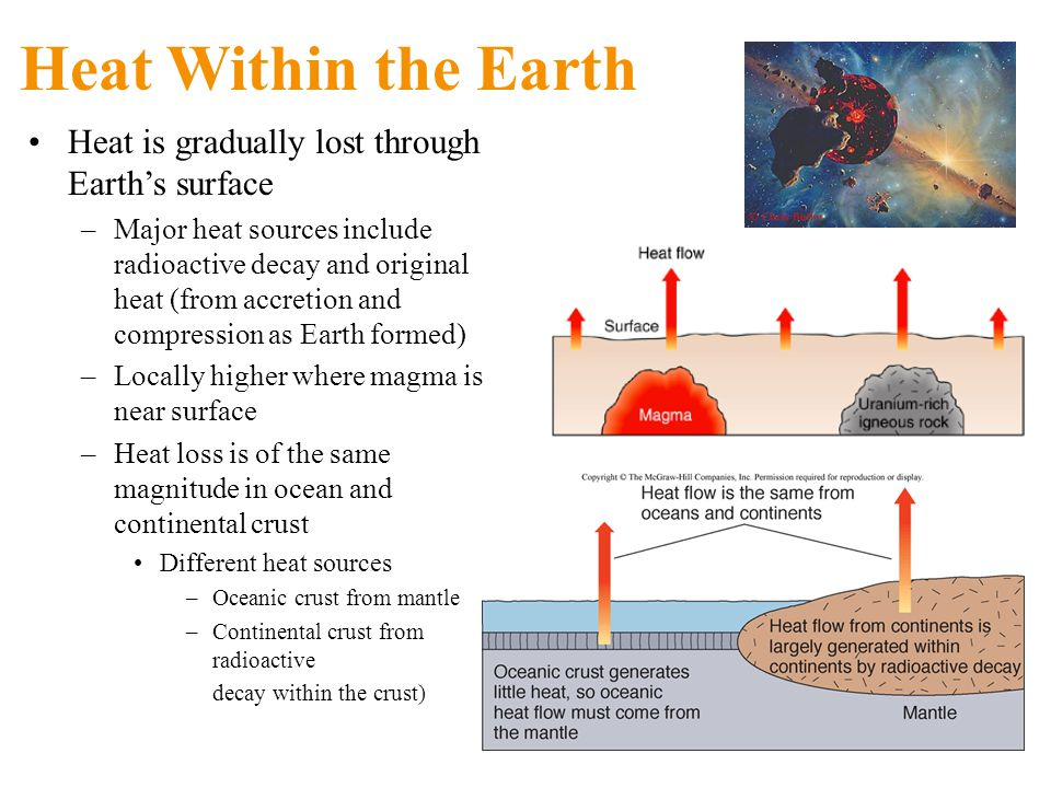 Heat Within the Earth Heat is gradually lost through Earth's surface –Major heat sources include radioactive decay and original heat (from accretion and compression as Earth formed) –Locally higher where magma is near surface –Heat loss is of the same magnitude in ocean and continental crust Different heat sources –Oceanic crust from mantle –Continental crust from radioactive decay within the crust)