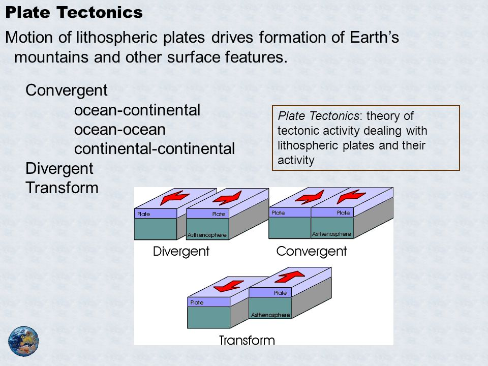 Plate Tectonics Motion of lithospheric plates drives formation of Earth's mountains and other surface features. Convergent ocean-continental ocean-oce