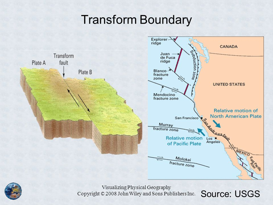 Transform Boundary Visualizing Physical Geography Copyright © 2008 John Wiley and Sons Publishers Inc. Source: USGS