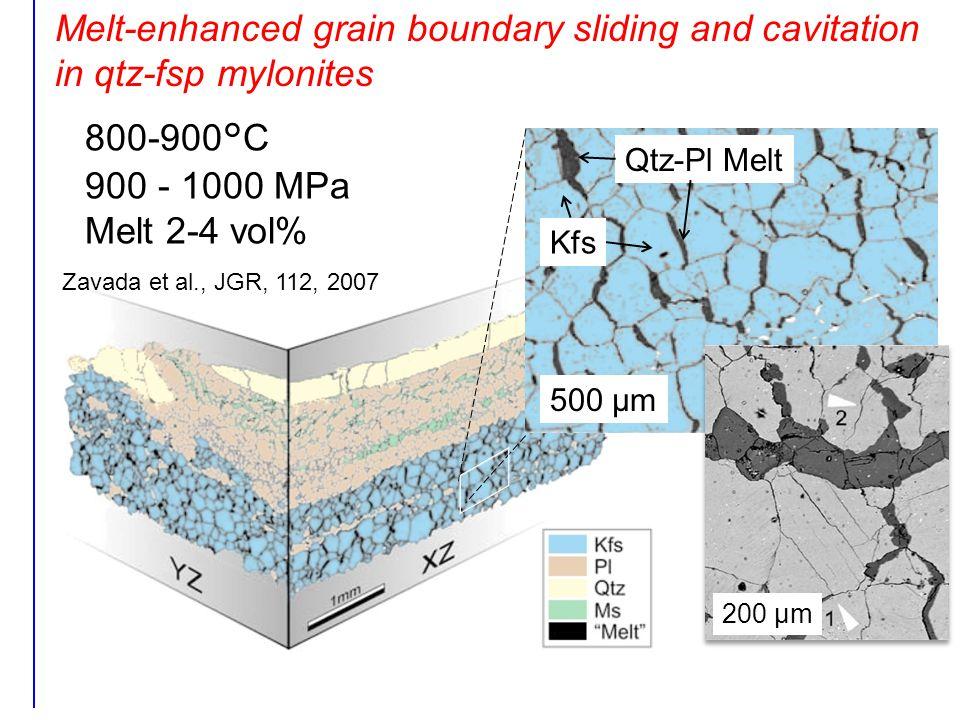 Melt-enhanced grain boundary sliding and cavitation in qtz-fsp mylonites 800-900°C 900 - 1000 MPa Melt 2-4 vol% 500 µm Kfs Qtz-Pl Melt 200 µm Zavada et al., JGR, 112, 2007