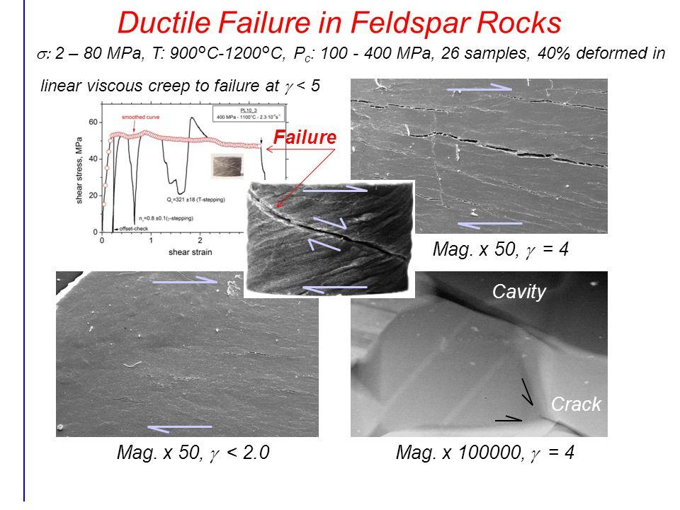 Ductile Failure in Feldspar Rocks Mag. x 50,  = 4 Mag.