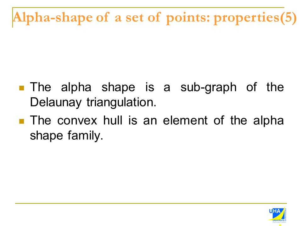 The alpha shape is a sub-graph of the Delaunay triangulation. The convex hull is an element of the alpha shape family. Alpha-shape of a set of points: