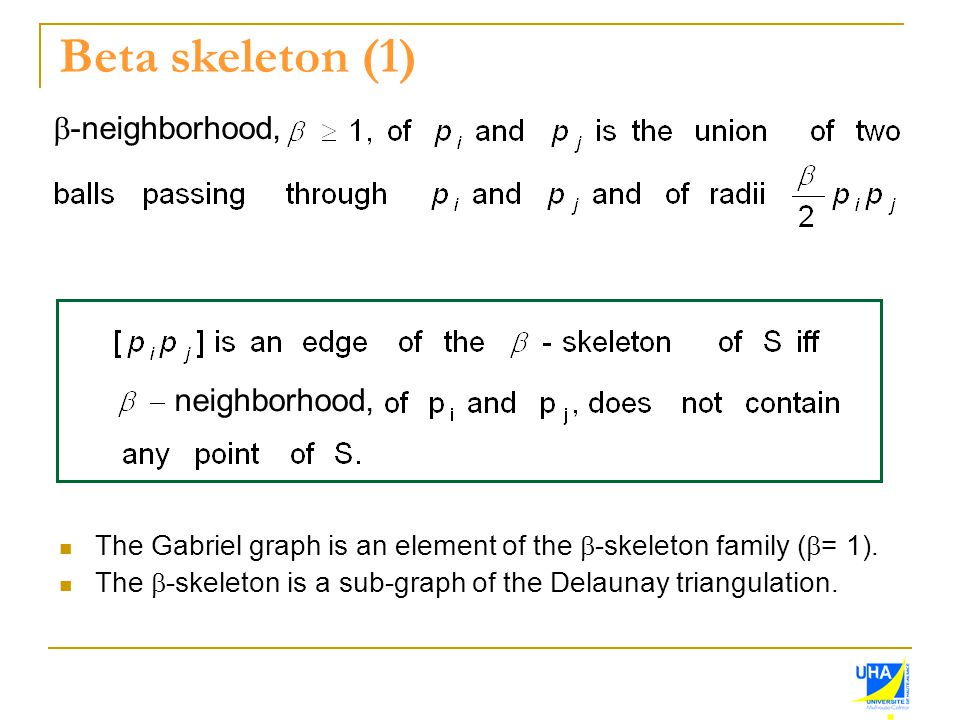 Beta skeleton (1)  -neighborhood, neighborhood, The Gabriel graph is an element of the  -skeleton family (  = 1). The  -skeleton is a sub-graph of