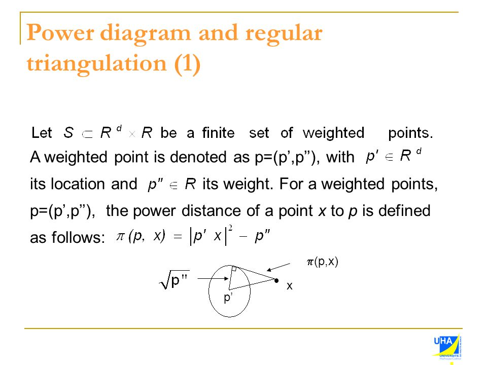 Power diagram and regular triangulation (1) A weighted point is denoted as p=(p',p''), with its location andits weight.For a weighted points, p=(p',p'