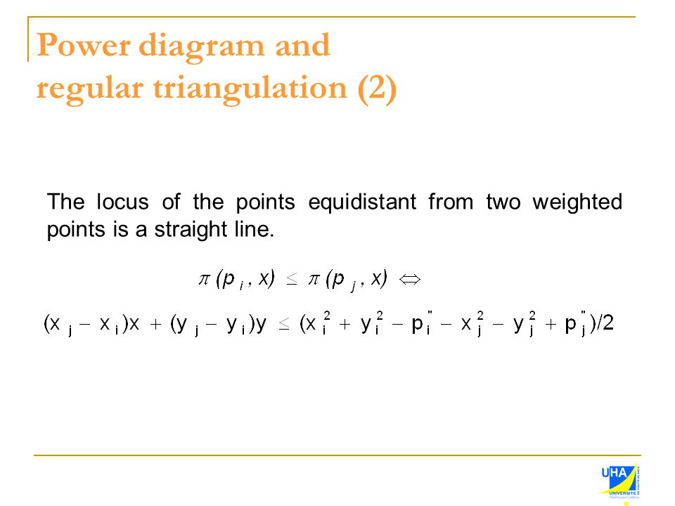 Power diagram and regular triangulation (2) The locus of the points equidistant from two weighted points is a straight line.