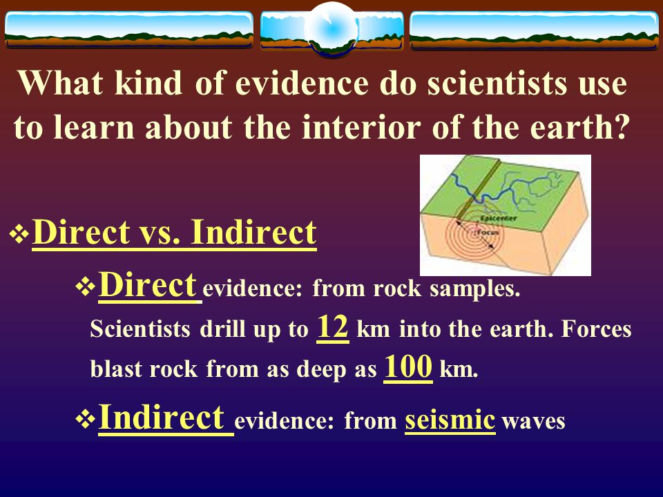 What kind of evidence do scientists use to learn about the interior of the earth.