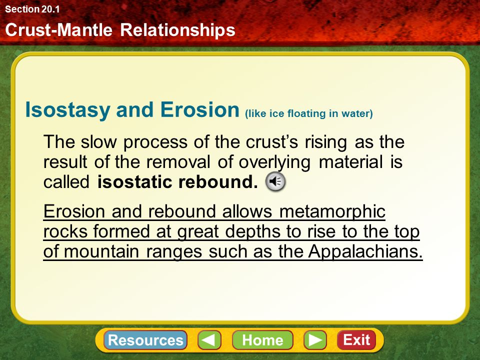 Crust-Mantle Relationships Section 20.1 Isostasy and Erosion A balance between erosion and the decrease in the size of the roots will continue for hun