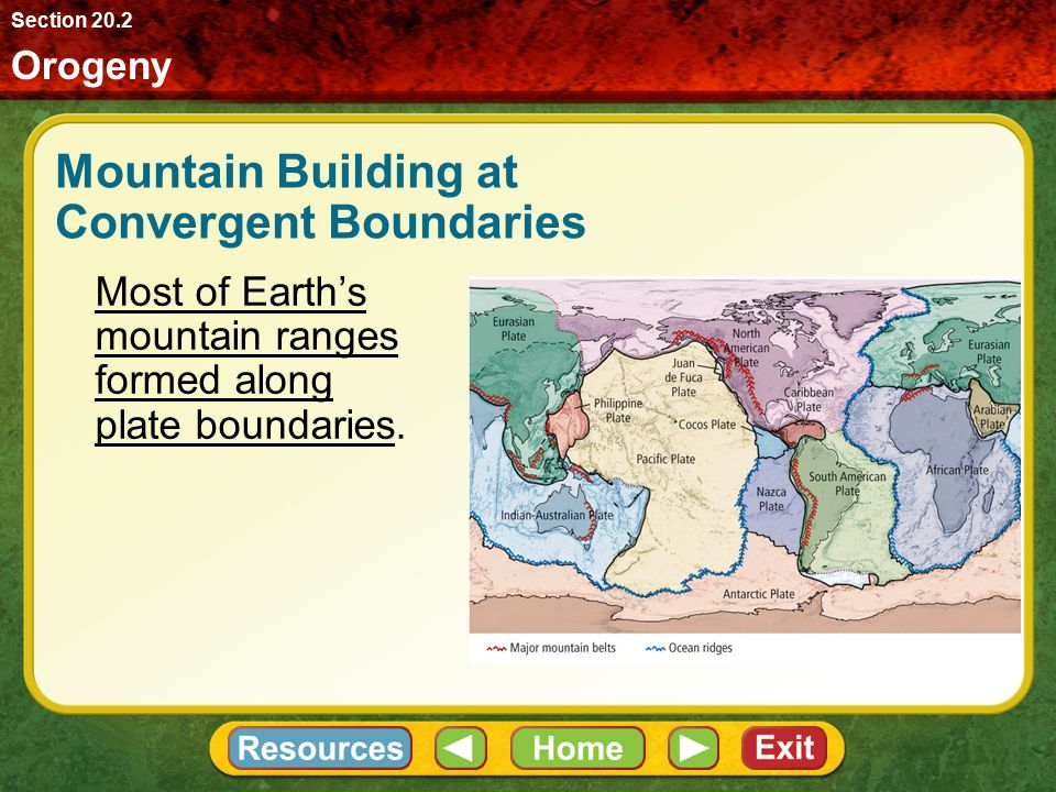 Mountain Building at Convergent Boundaries Orogeny refers to all processes that form mountain ranges. Broad, linear regions of deformation commonly kn