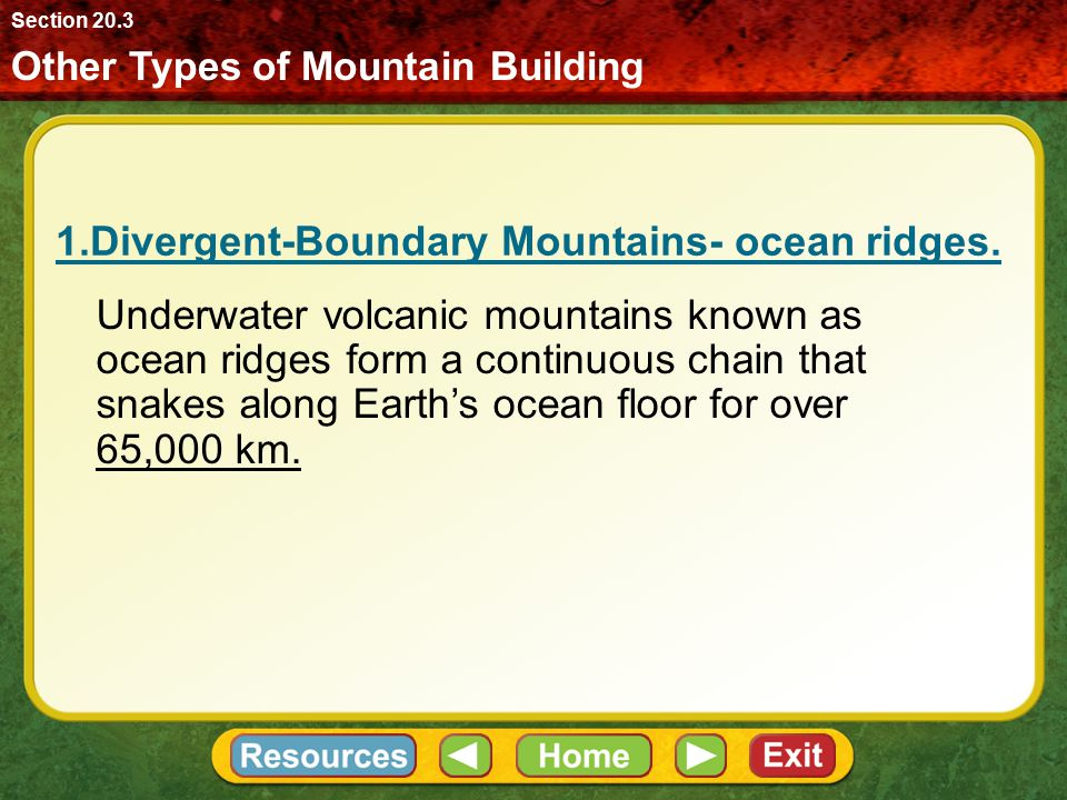 Mountain Building at Convergent Boundaries Most of Earth's mountain ranges formed along plate boundaries. Orogeny Section 20.2