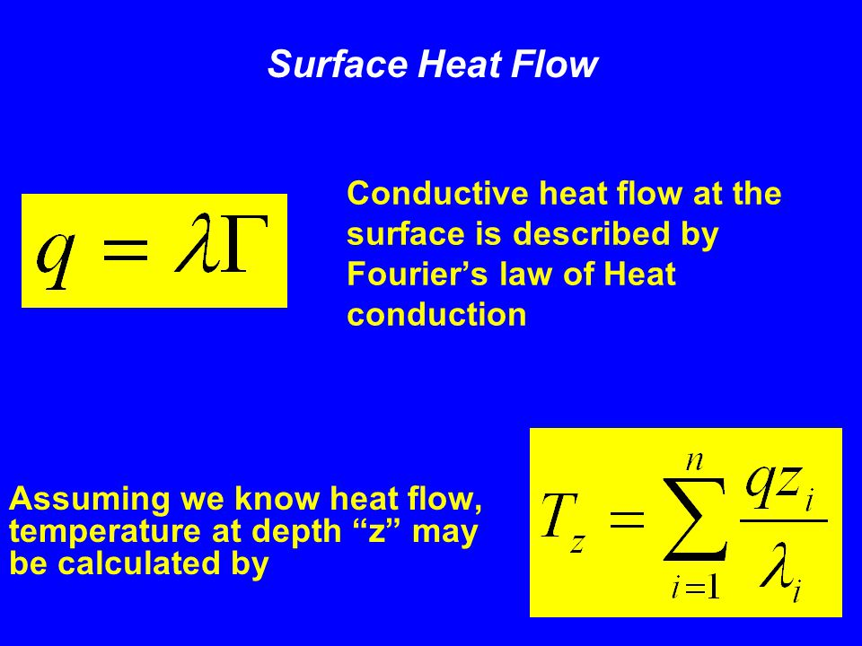 "Conductive heat flow at the surface is described by Fourier's law of Heat conduction Assuming we know heat flow, temperature at depth ""z"" may be calcu"