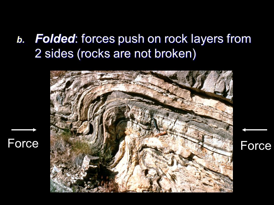 b. Folded: forces push on rock layers from 2 sides (rocks are not broken) Force