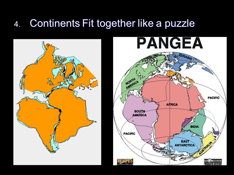 4. Continents Fit together like a puzzle