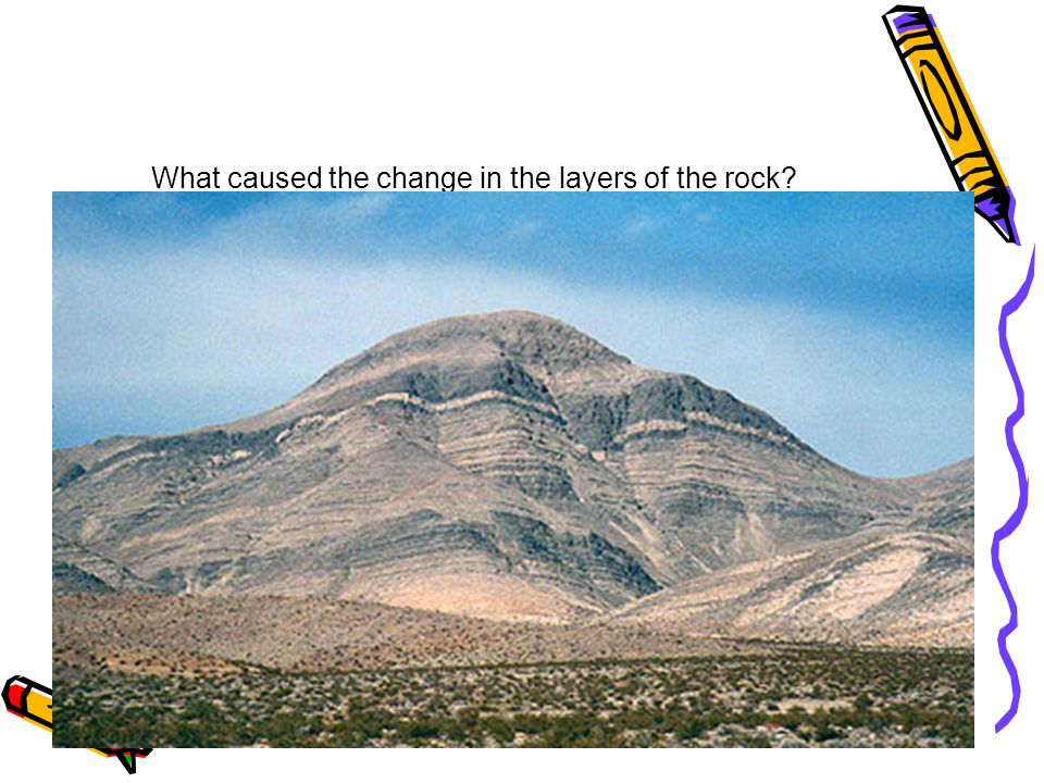 What caused the change in the layers of the rock?
