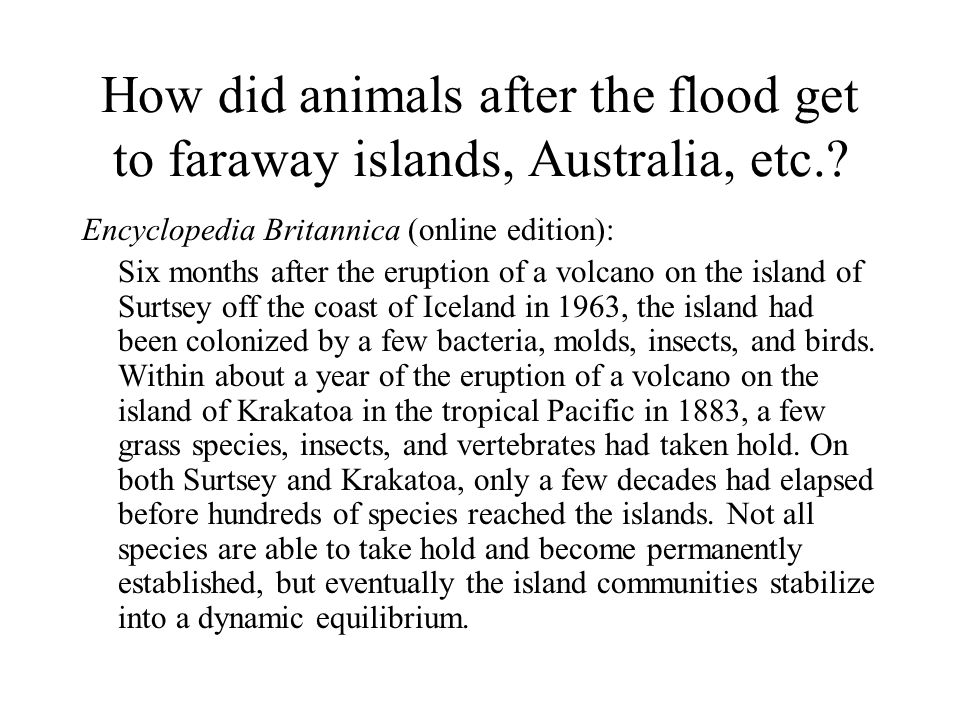 How did animals after the flood get to faraway islands, Australia, etc.? Encyclopedia Britannica (online edition): Six months after the eruption of a