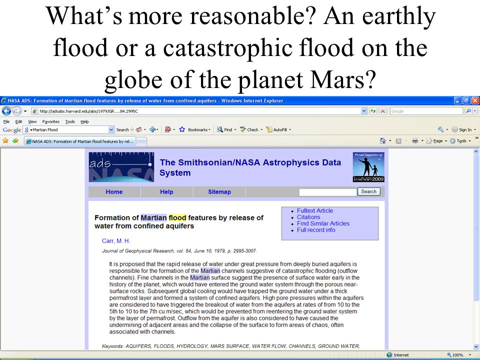 What's more reasonable An earthly flood or a catastrophic flood on the globe of the planet Mars