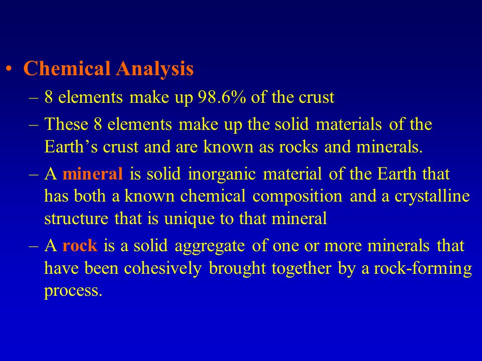 (A)The percentage by weight of the elements that make up Earth s crust.