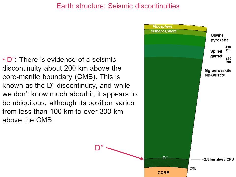 Earth structure: Seismic discontinuities D'': There is evidence of a seismic discontinuity about 200 km above the core-mantle boundary (CMB). This is