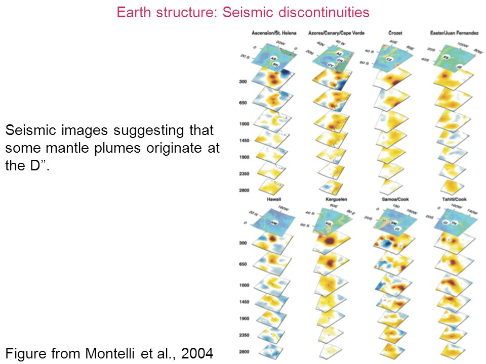 Earth structure: Seismic discontinuities Seismic images suggesting that some mantle plumes originate at the D''. Figure from Montelli et al., 2004