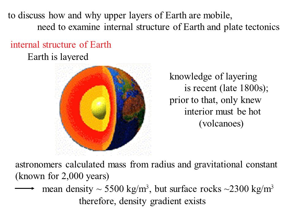 to discuss how and why upper layers of Earth are mobile, need to examine internal structure of Earth and plate tectonics internal structure of Earth E