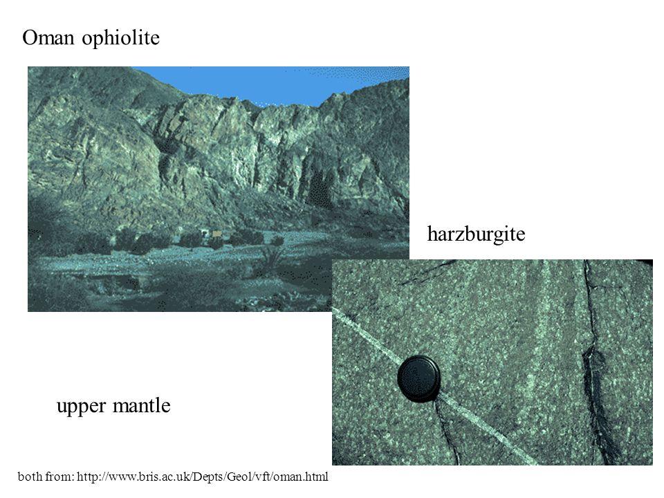 Oman ophiolite harzburgite upper mantle both from: http://www.bris.ac.uk/Depts/Geol/vft/oman.html