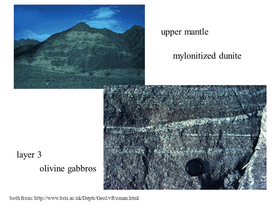 mylonitized dunite olivine gabbros upper mantle layer 3 both from: http://www.bris.ac.uk/Depts/Geol/vft/oman.html