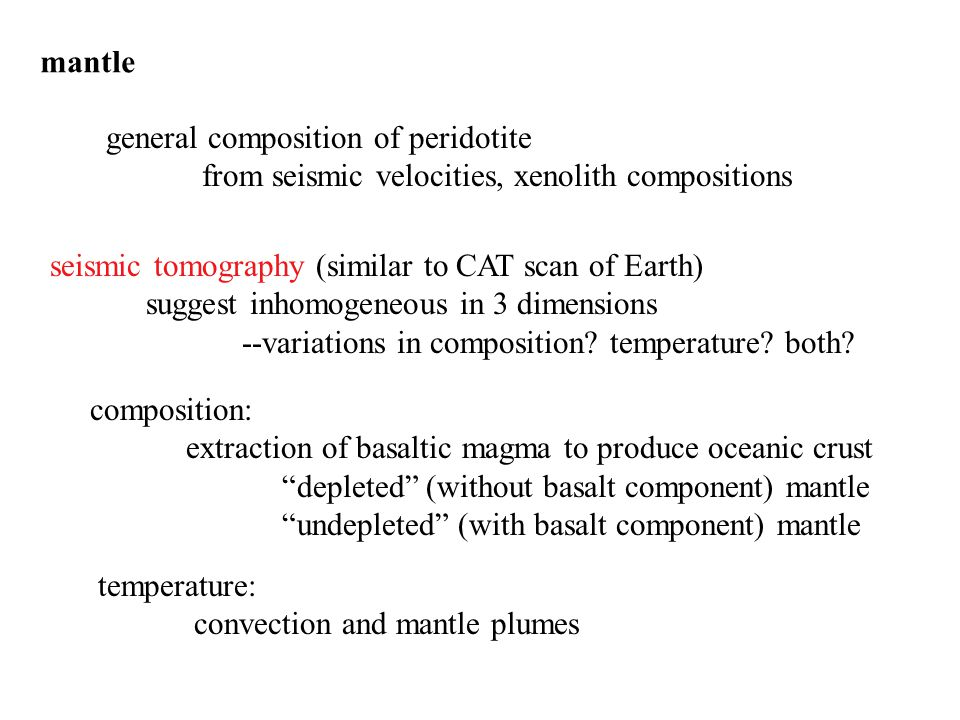 mantle general composition of peridotite from seismic velocities, xenolith compositions seismic tomography (similar to CAT scan of Earth) suggest inho