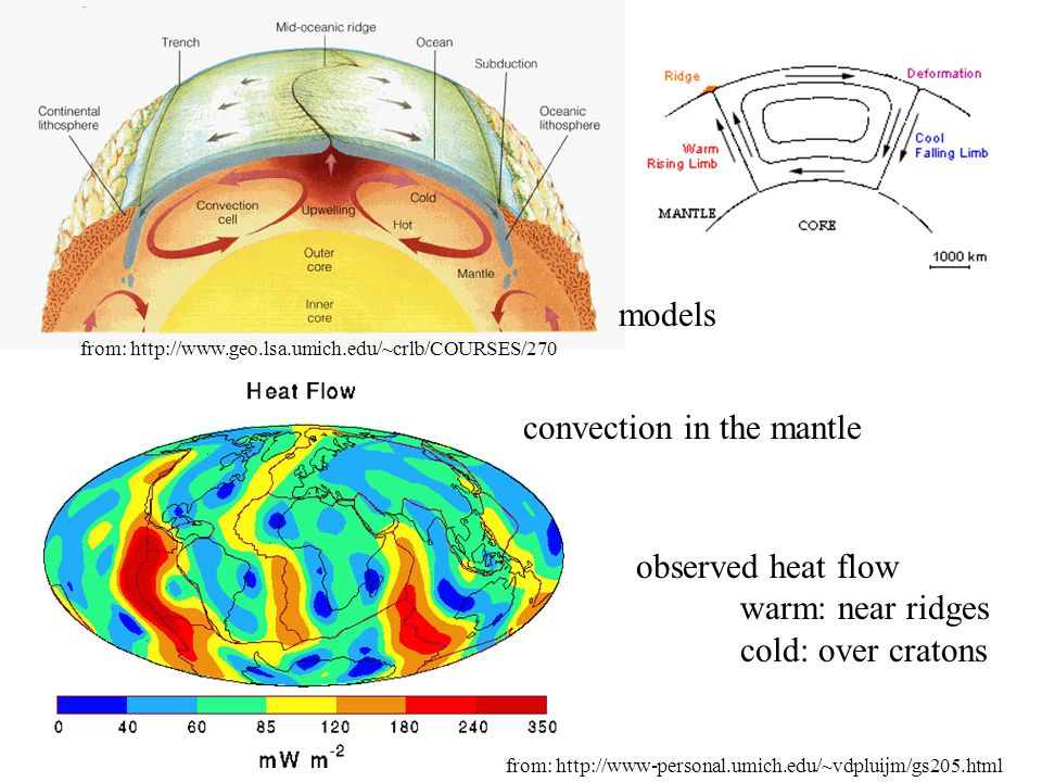 convection in the mantle models observed heat flow warm: near ridges cold: over cratons from: http://www.geo.lsa.umich.edu/~crlb/COURSES/270 from: htt