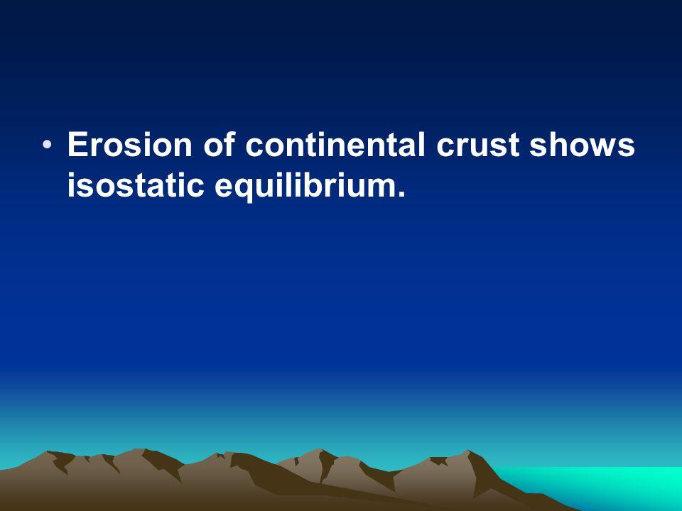 Erosion of continental crust shows isostatic equilibrium.