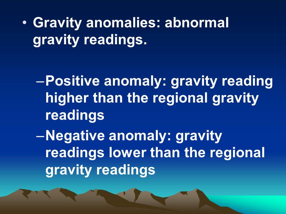 Gravity anomalies: abnormal gravity readings.