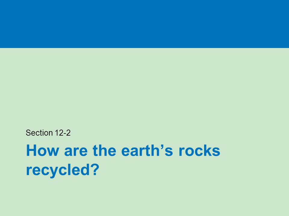 How are the earth's rocks recycled Section 12-2