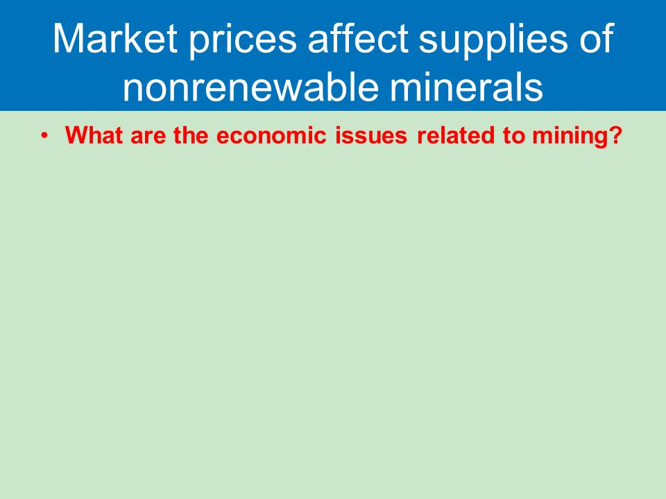 Market prices affect supplies of nonrenewable minerals What are the economic issues related to mining