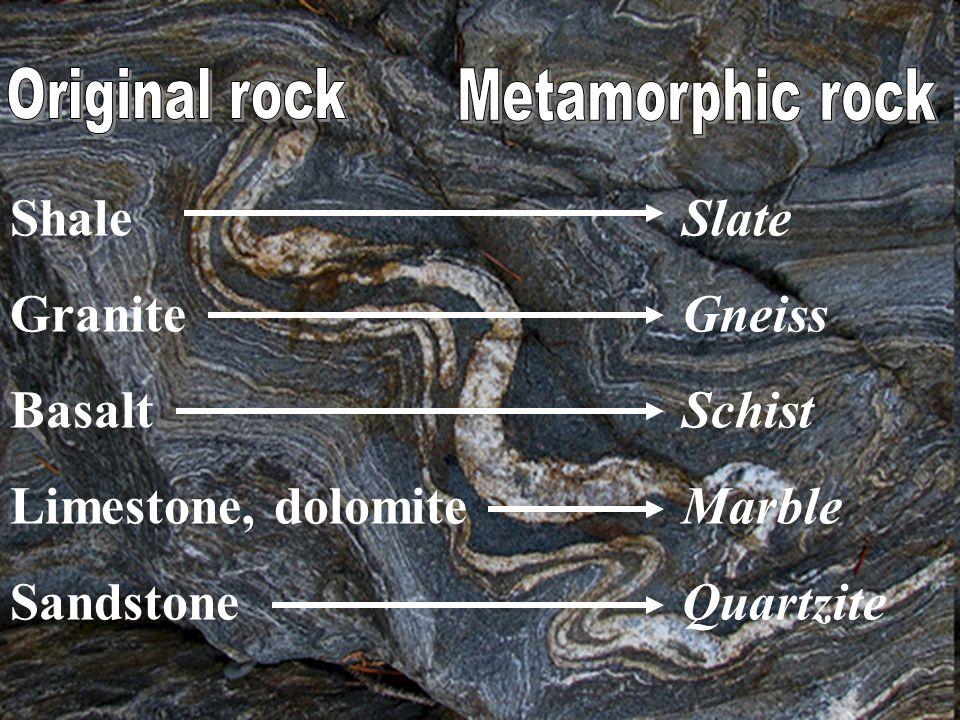 Shale Slate GraniteGneiss Basalt Schist Limestone, dolomiteMarble SandstoneQuartzite