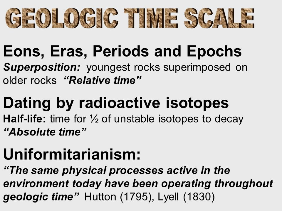 Eons, Eras, Periods and Epochs Superposition: youngest rocks superimposed on older rocks Relative time Dating by radioactive isotopes Half-life: time for ½ of unstable isotopes to decay Absolute time Uniformitarianism: The same physical processes active in the environment today have been operating throughout geologic time Hutton (1795), Lyell (1830)