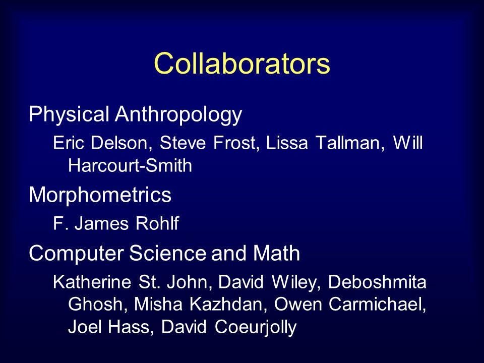 Collaborators Physical Anthropology Eric Delson, Steve Frost, Lissa Tallman, Will Harcourt-Smith Morphometrics F.