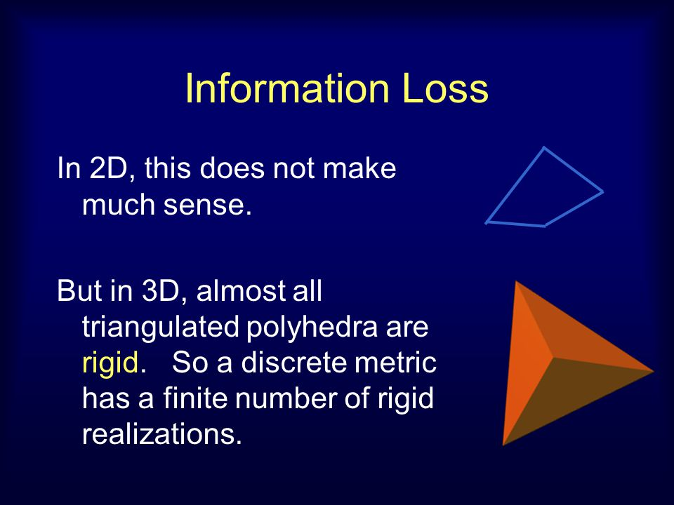 Information Loss In 2D, this does not make much sense. But in 3D, almost all triangulated polyhedra are rigid. So a discrete metric has a finite numbe