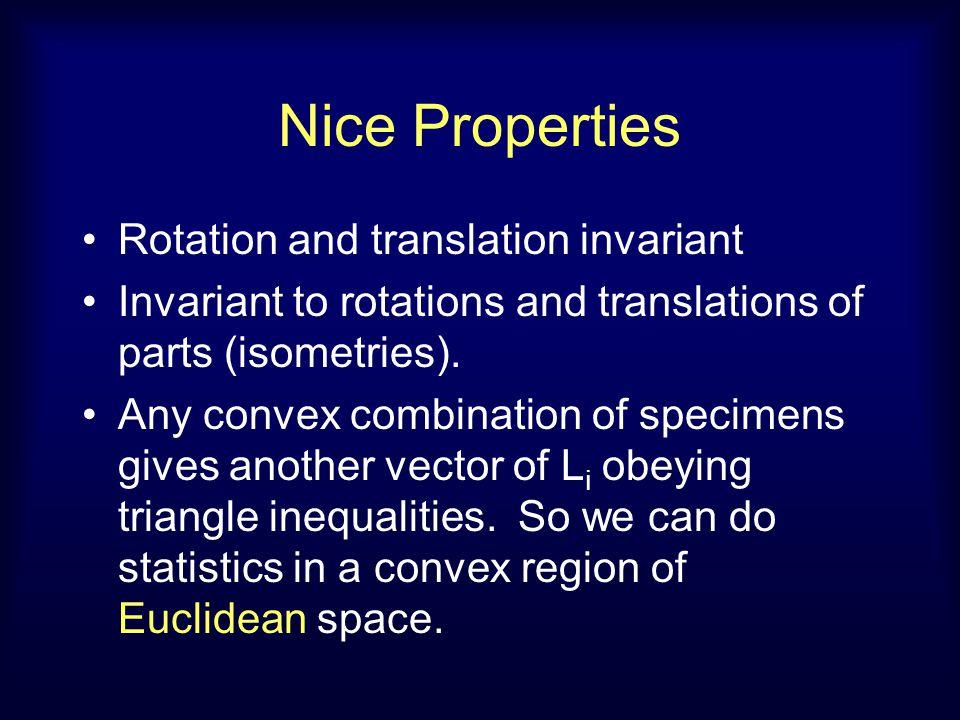Nice Properties Rotation and translation invariant Invariant to rotations and translations of parts (isometries).