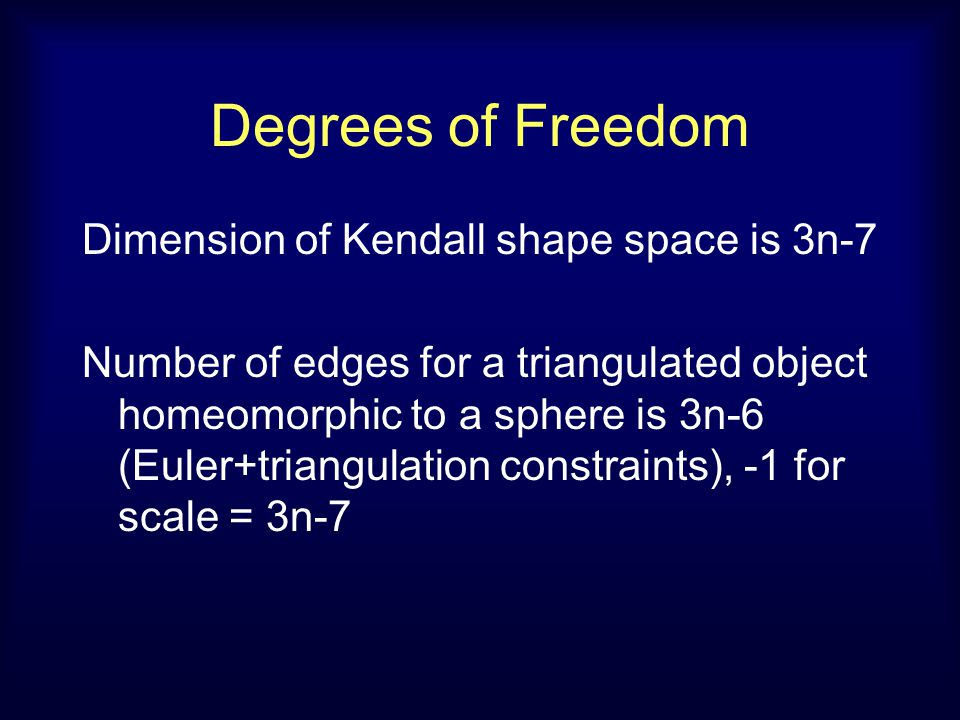 Degrees of Freedom Dimension of Kendall shape space is 3n-7 Number of edges for a triangulated object homeomorphic to a sphere is 3n-6 (Euler+triangulation constraints), -1 for scale = 3n-7