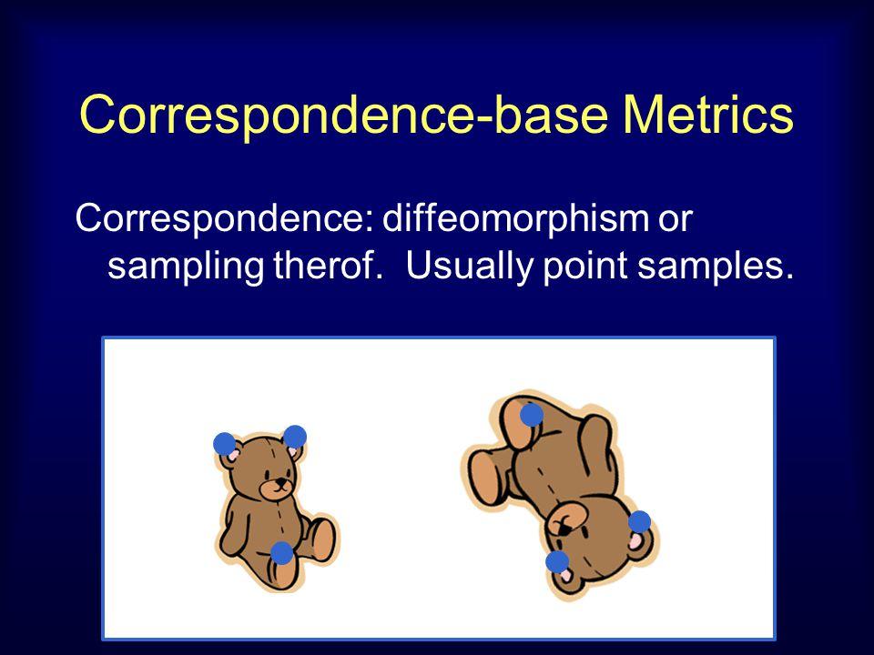 Correspondence-base Metrics Correspondence: diffeomorphism or sampling therof.