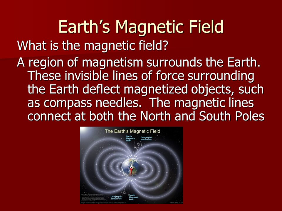 Earth's Magnetic Field What is the magnetic field? A region of magnetism surrounds the Earth. These invisible lines of force surrounding the Earth def